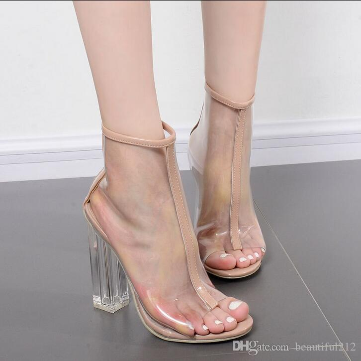 Hot high-heeled fish head PVC transparent crystal thick with summer women's boots fashion new party casual women's high heels