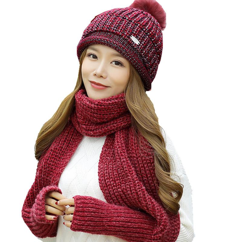 f86ed1e34a2 With Glove Long Scarf +Warm Wool Ball Hat Two Pc Sets For Girls Over 10  Years Women Fashion Knitting Beanie Collar Adult Caps UK 2019 From  Runyutian