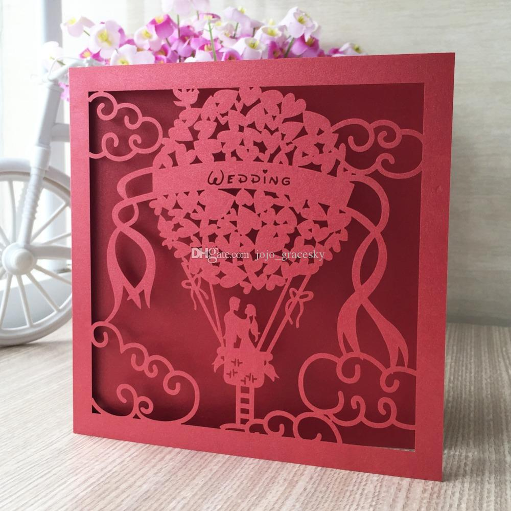 laser cut Birthday wedding invitations cards Princess in balloon design Name customized party RSVP cards supplies