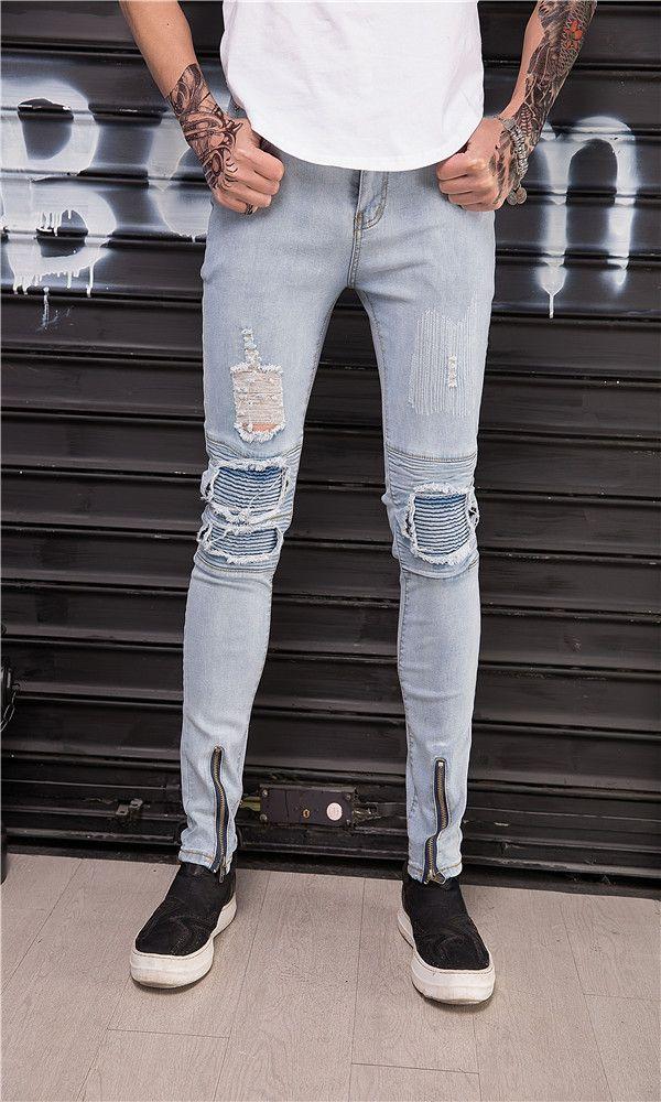 Hauts 2018 Nouveaux Pantalons Homme Jeune Mode Coréenne Slim Wild Jeans Hole Elastique Pantalon Homme