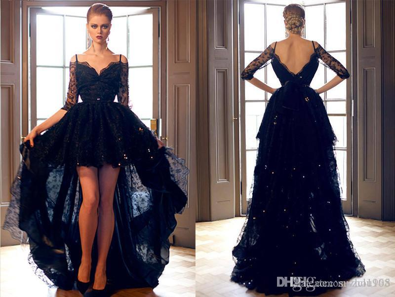 bb4474d14cd3e Sexy charming Sweetheart Evening Dresses halter neckline New High Low Black  Lace Formal ball Gowns Custom size skirt