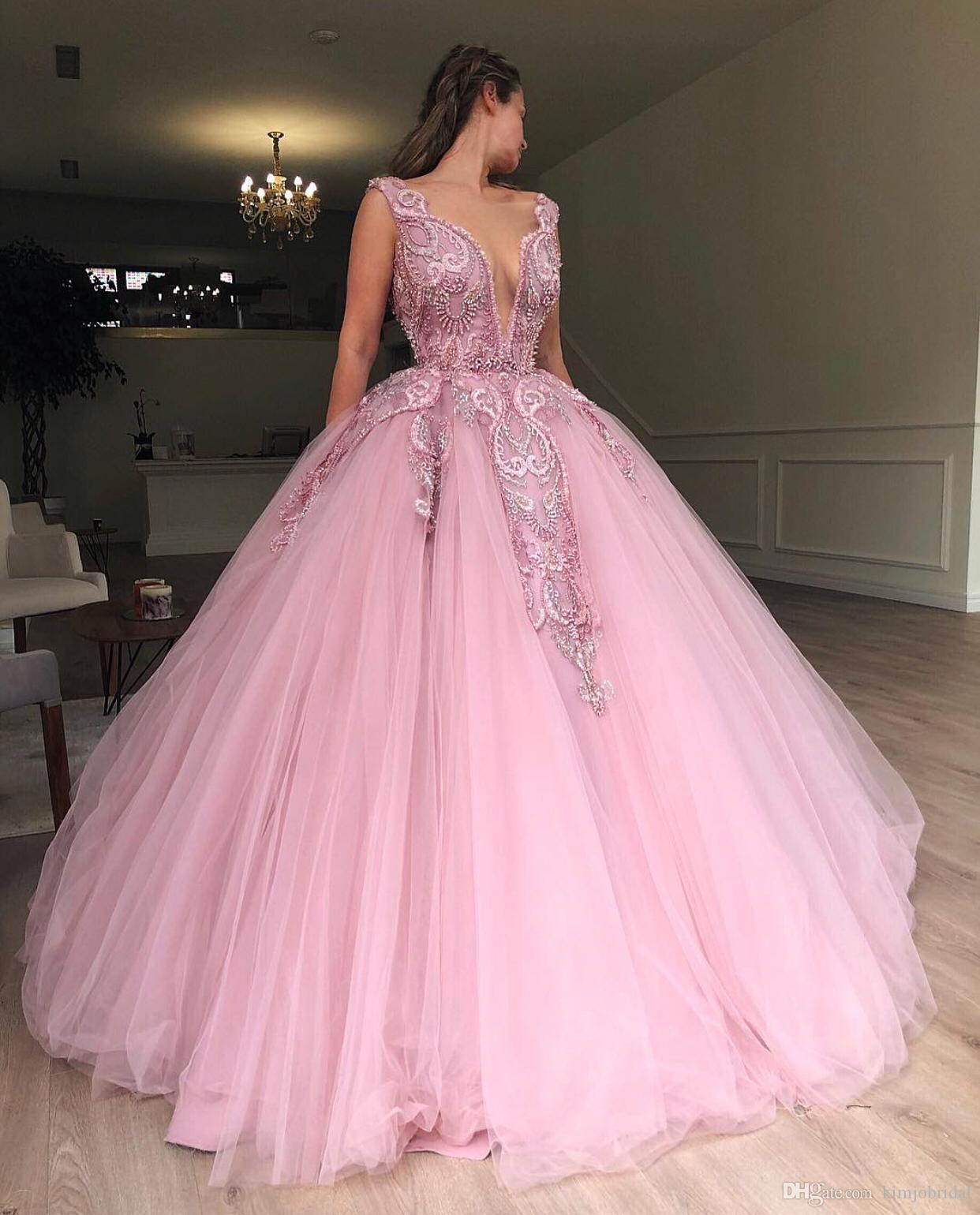 99a78c38afd38 2019 Luxury Pink Prom Dresses Ball Gown Lace Applique Beaded Elegant Prom  Dress Sweet 16 Dresses