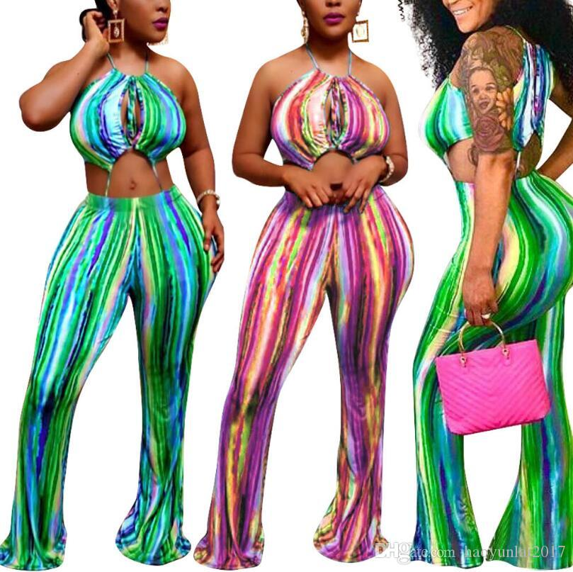 c02af540e894 2019 Womens Jumpsuit Rainbow Print Wide Leg Pants Off Shoulder Backless  Bodysuit Summer Overalls Club Sexy Jumpsuits HY 689 From Haoyunlai2017