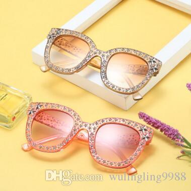 Compre 7 Cores Bling Cat Eye Sunglasses Estrela Diamante De Cristal Quadrado  Óculos De Sol Estrela Strass Frame Outdoor Eyewear De Wulingling9988, ... 62726bd93e