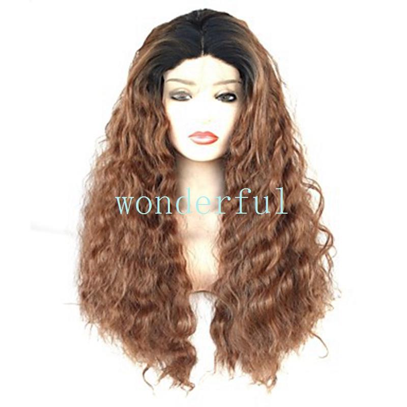 Синтетический парик фронта шнурка шнурка курчавый коричневый цвет Ombre 180% плотности синтетических волос теплостойких / естественного волосяного покрова шнурка черных женщин природы