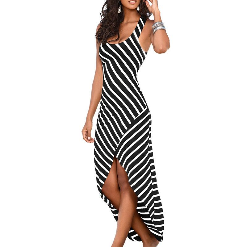 acheter femmes robe d'été 2019 robe d'été femme rayé long maxi robe