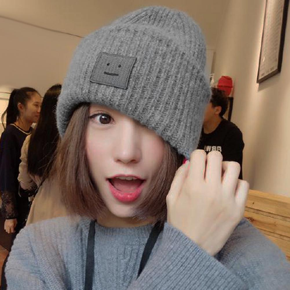 Same Celebrity Style Women Men S Hat Winter Knitted Beanie Poker Faced  Robot Label Ball Wool Cuff Hat Casual Cap Cute Warm Hat Y18110503 Knit Beanie  Cap ... ad92e6b16ef
