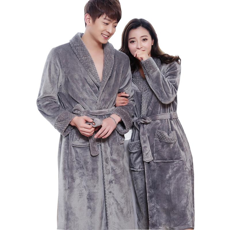 New Style Lovers Silk Soft Flannel Long Kimono Bath Robe Men Waffle ...