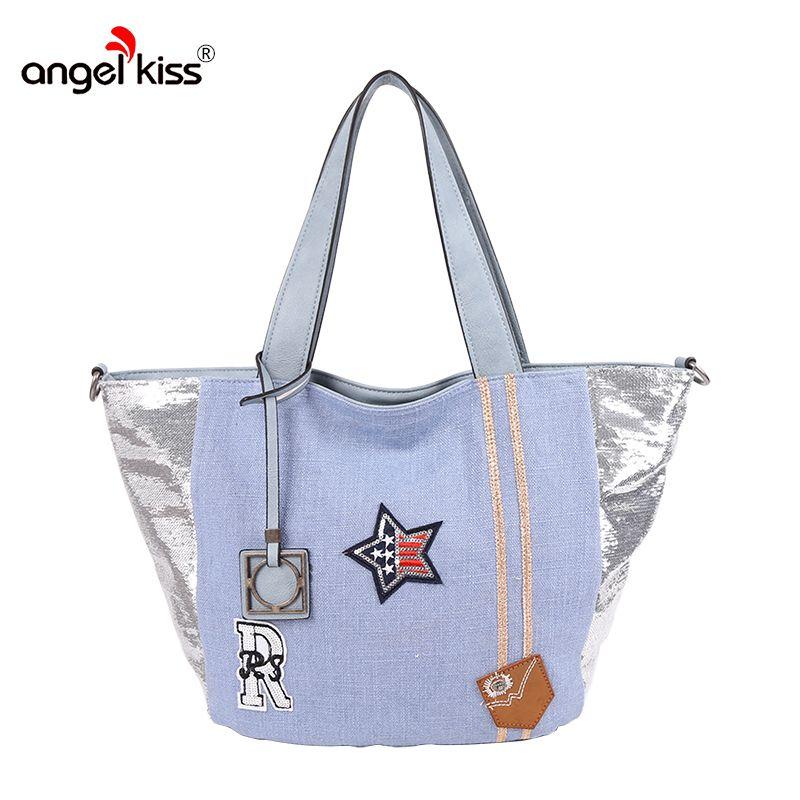 Angel Kiss Women Canvas Handbags Shoulder Bags Fashion Tote Large Capacity  Messenger Top-handle Bag European Style for Female Canvas Handbag Fashion  Handbag ... fa6304add1