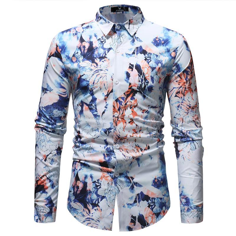 db5a6da752 Fiori Stampa Camicia floreale Uomo 2018 Moda Casual Button Down Camicia  Uomo Primavera Autunno Camisa Masculina sociale XXXL
