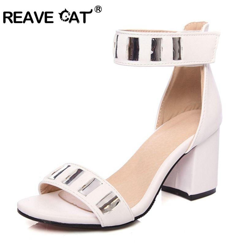 0450d245984cf9 REAVE CAT Women S Mid Heels Shoes Summer Sandals Big Size 34 46 Causal PU  Or Flock Buckle Strap Black White Pink Wine QL6483 Mens Sandals Reef Sandals  From ...