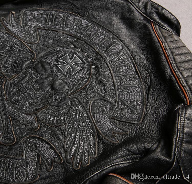 السترات الجلدية للرجال دراجة نارية سوداء مع رئيس الجمجمة التطريز سترة من جلد البقر مع سحاب ykk