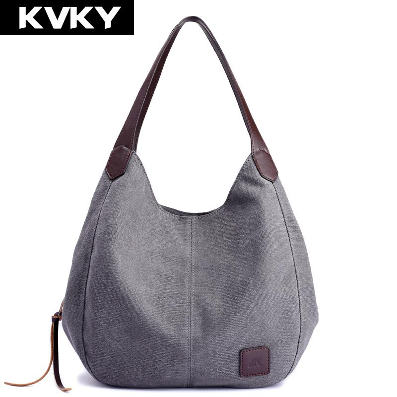 5f0b58199267 KVKY Brand Women S Canvas Handbags High Quality Female Hobos Single  Shoulder Bags Vintage Solid Multi Pocket Ladies Totes Bolsas Luxury Bags  Womens Wallets ...