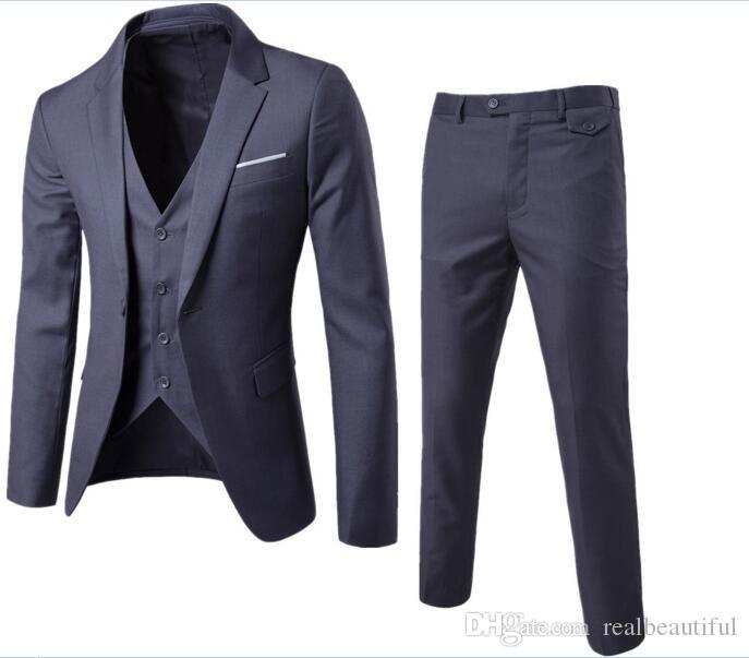 639a6d420 Color sólido slim fit para hombre traje de 3 piezas vestido de boda de los  hombres de negocios informal chaqueta de la boda trajes de cena trajes de  ...