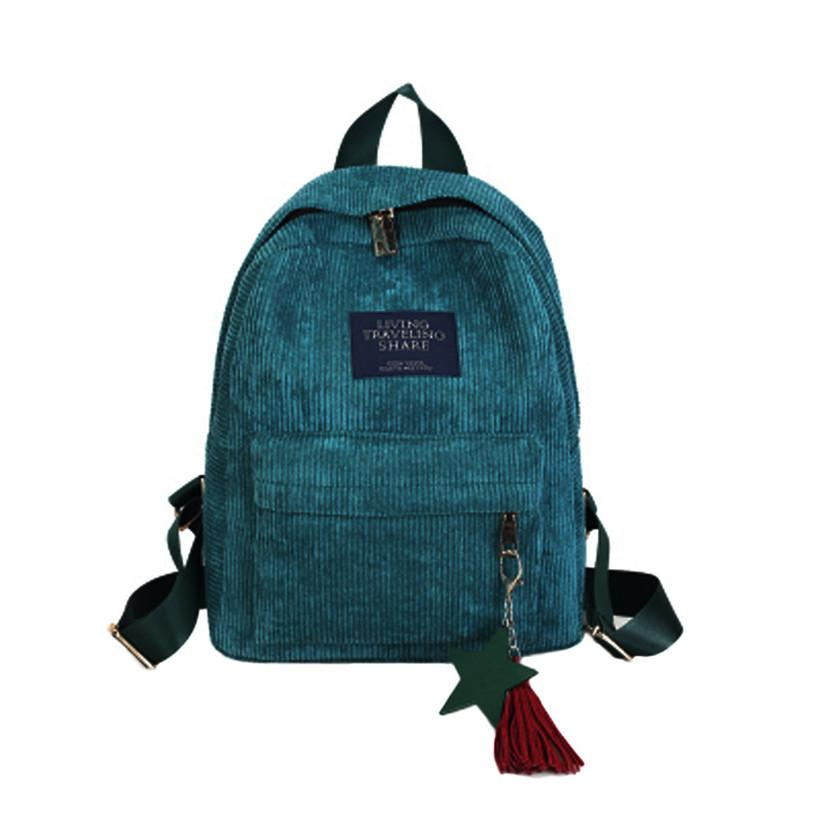 New Women Backpacks School Soulder Bag With Tassel Corduroy Backpack Female Notebook Bags For Girls Preppy Style Mini Backpack Luggage & Bags Backpacks