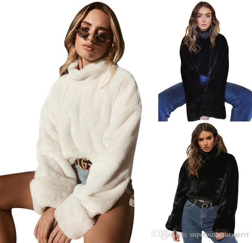 18 FW Moda para mujer Downy Crop Tops Pelo de conejo como jerseys cortos  High Street Chic Ropa para mujeres