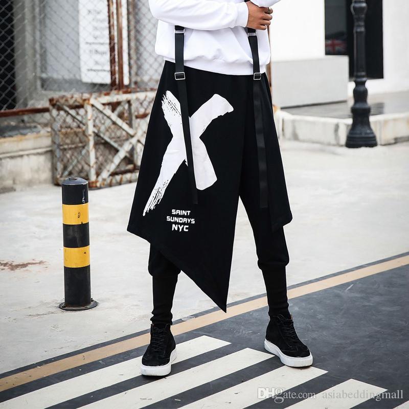 Men Splice Asymmetrical Skirts Pant High Street Fashion Hip Hop Punk Harem Pant Male Casual Sweatpants Jogger Trousers