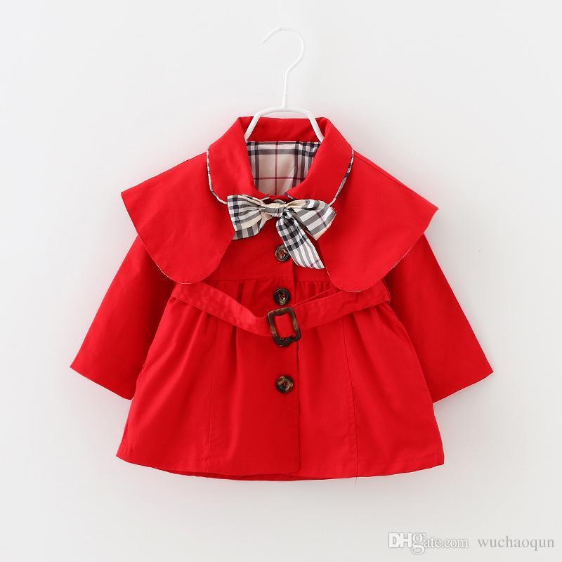 25eb1293e New Baby Toddler Girls Spring Lapel Waistband Windbreaker Coat ...