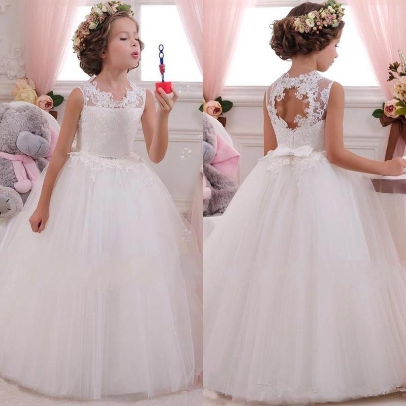 Pas Cher Spaghetti Dentelle Et Tulle Robes De Fille De Fleur Pour Mariage Blanc Robe De Bal Princesse Filles Pageant Robes Enfants Communion