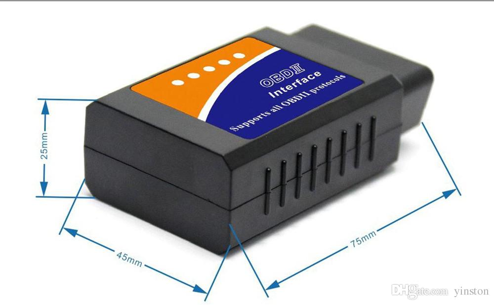 ELM 327 V1.5 Interfaz funciona en Android Torque CAN-BUS Elm327 Bluetooth OBD2 / OBD II herramienta de escáner de diagnóstico de coche