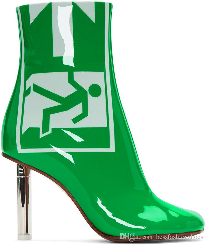 6caf9aee622 Green Patent Leather Women Martin Boots Autumn Winter Lighter Vetements  Ladies Pointed Toe Lighter Heels Runway Knight Boots Sapatos Mujer Shoes  Online ...