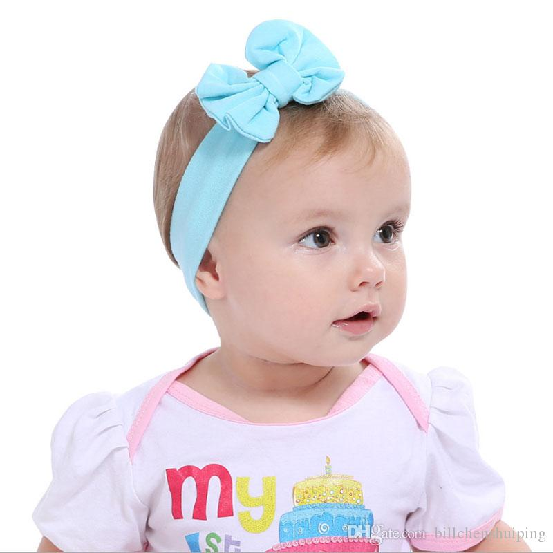 bf35398a4877 Girls Hair Accessories Baby Hairbands Head Wraps Bow Headwear Solid Bowknot  Elastic Headwear Baby Headbands for Girls Hair Accessories Online with ...