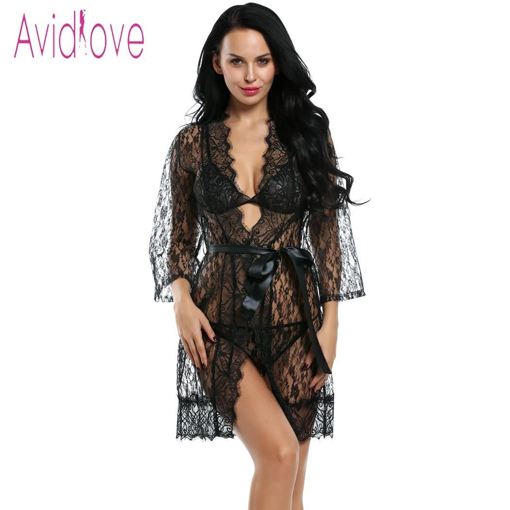 a42da43782 Avidlove Erotic Robe Women Sexy Lingerie Hot Erotic Sex Lace Robe Unlined  Bra G-string Nightwear Sleepwear Porn Exotic Costumes D18110801