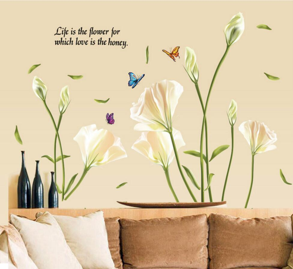 Lily Flowers Wall Sticker On The Wall Vinyl Stickers Gome Decor ...