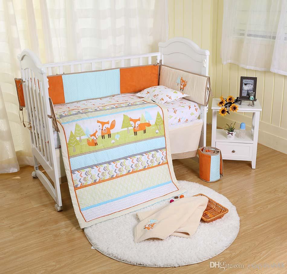 7Pcs 100% cotton Baby crib bedding set Early education bedskirt quilt bumper Fitted Baby bedding setEmbroidery 3D prairie fox Cot bedding se