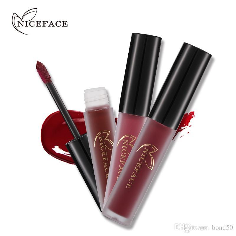 NICEFACE Brand Liquid Lipsticks Make Up Pigments Sexy Red Purple Velvet Matte Lip Gloss Makeup Kit L17011 ABCD