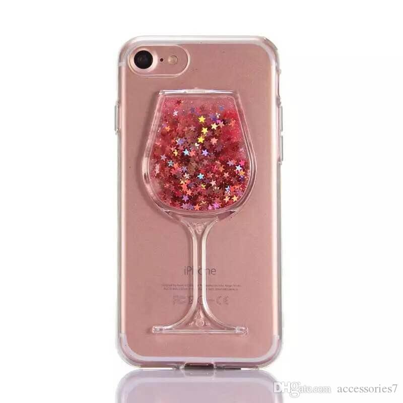 wholesale dealer 4efae 6fca9 Fashion Luxury Xmas Pink Wine Glass Cocktail Bottle Quicksand Liquid  Glitter Bling PC 3D Dual Phone Case Cover For iPhone 6 6S 7 8 Plus X