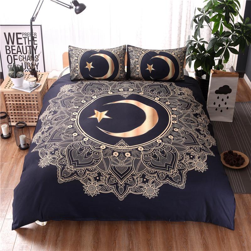 Großhandel Heimtextilien Gold Mandala Blumen Star Moon Bettbezug Set