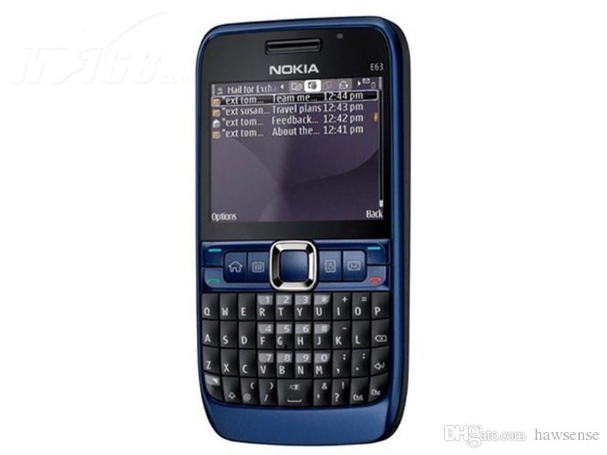Refurbished Original Nokia E63 Unlocked Mobile Phone 2.36 inch Screen 2.0MP Camera 3G WIFI Bluetooth QWERTY Keyboard Free DHL