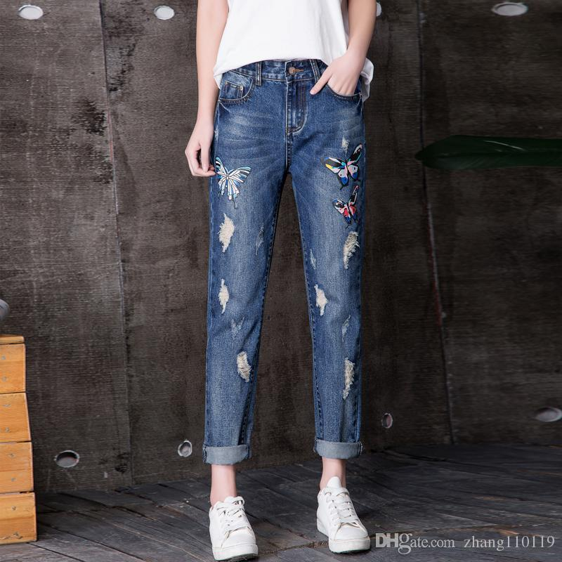 d23ea0f5053 2018 New Summer Women s Jeans Ankle-Length Pants Ladies Casual Fashion  Harem Pants Butterfly Cuffs Hole Jeans Soft Denim Pants