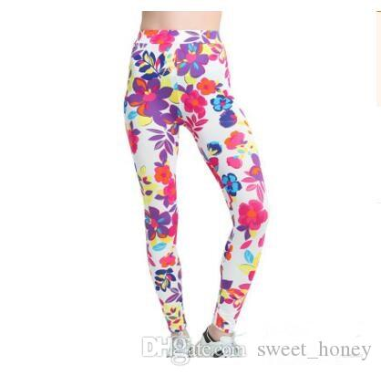 af170ed9ef1 Lady Elastic Trousers Women Leggings Flower Printing Pants High Fashion  Leggings Slim Stretch Women Leggings Clothing DHL Sport Leggings Fitness  Legging ...