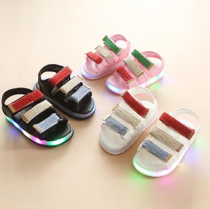 118558e6f185 Summer Children LED Lights Children Shoes Boys Sandals Girls Beach ...
