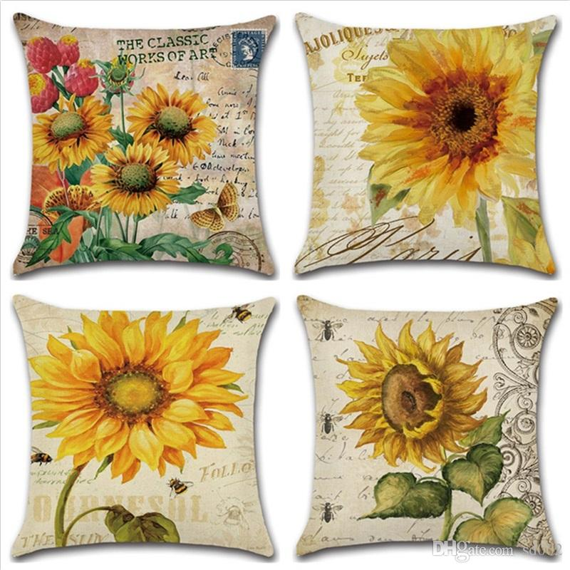 New Sunflower Series Hand Painting Pillow Case Cushion Cover Home Furnishing Car Bathroom Living Room Decor 5 3kh gg