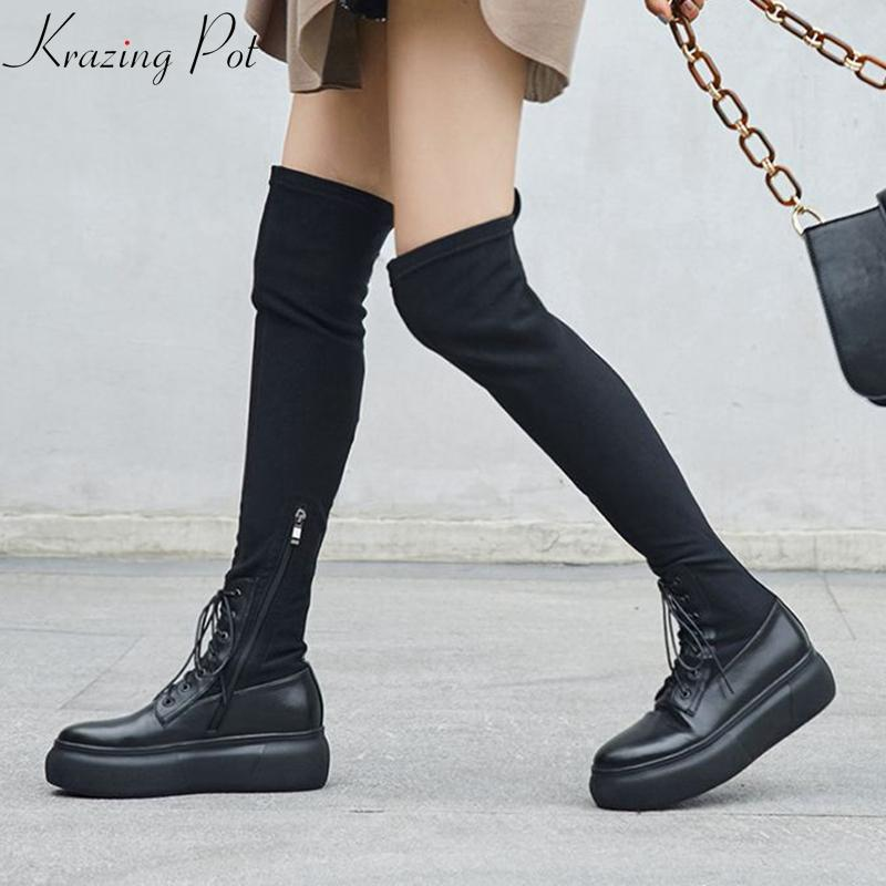 82ca32ebfa79 Krazing Pot Genuine Leather Stretch Fabric Wedges Round Toe Thick Bottom  Cowboy Western Runway Increased Over The Knee Boots L96 Shoes For Women  Desert ...