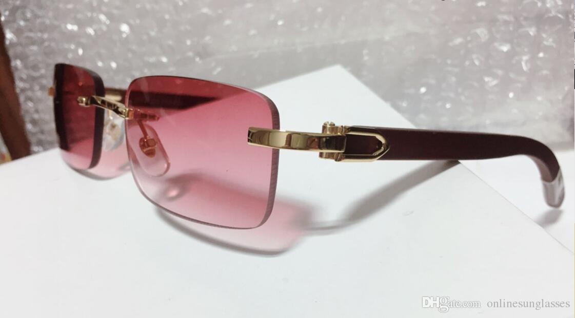 bf57e47f59 Rimless Luxury Sun Glasses Buffalo Horn Glasses With Red Lens Men Women  Sunglasses For Brand Designer Best Quality With Box Designer Eyeglasses  Womens ...
