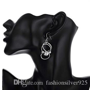 도매 최저 가격 크리스마스 선물 925 실버 귀걸이 8 단어 교수형 비즈 귀걸이 간단한 기하학적 모양 실버 귀걸이 E071