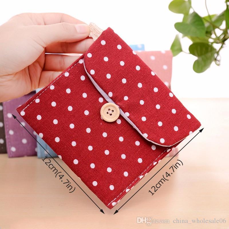 Sanitary Napkins Package Small Cotton Storage Bag Purse Case Polka Dot  Organizer Storage Cute Bag Female Hygiene