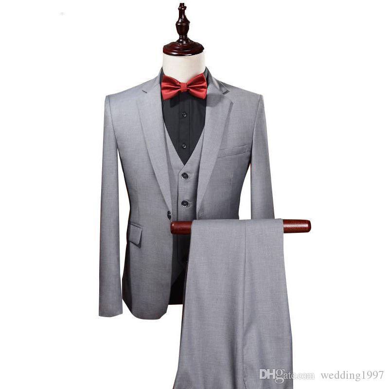 Açık Gri Weding Erkekler Çentikli Yaka Üç Parçalı Custom Made Suits Mens Blazer Damat Smokin Ceket Pantolon Yelek WH229