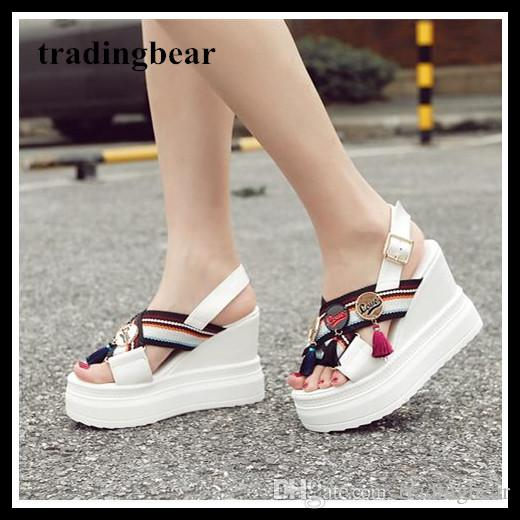 021e3764dbc Lena ViVi White Black Platform Wedges Sandals Tassels Increased Height High  Heels Designer Sandals Size 34 To 39 Cheap Shoes For Women Buy Shoes Online  From ...
