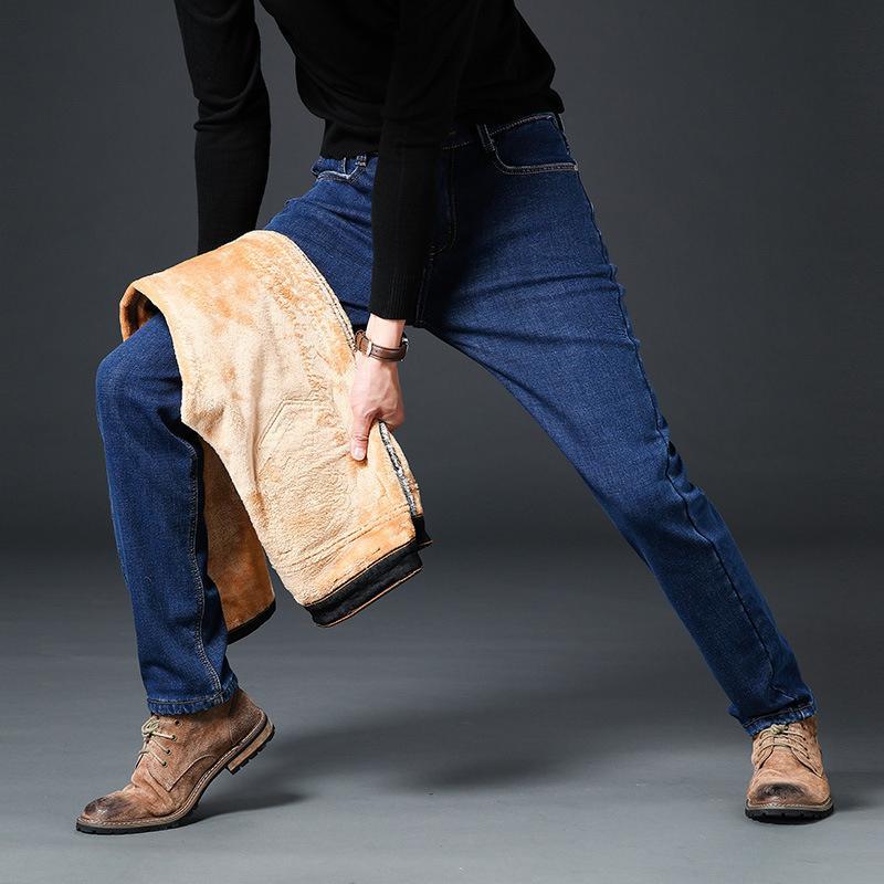 Compre Moda Jeans De Invierno Para Hombres Straight Fit Elástico Grueso  Caliente Jeans Hombres Casual De Negocios Clásico Terciopelo Fleece  Pantalones ... 7f4daf41f55