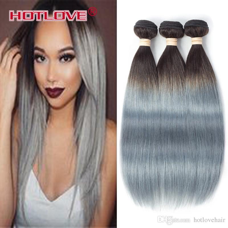 HOTLOVE Two Tone 1B/Grey Ombre Brazilian Remy Human Hair Extensions Straight Hair 3 Bundles 4 Bundles /Gray Color 12-24 inch