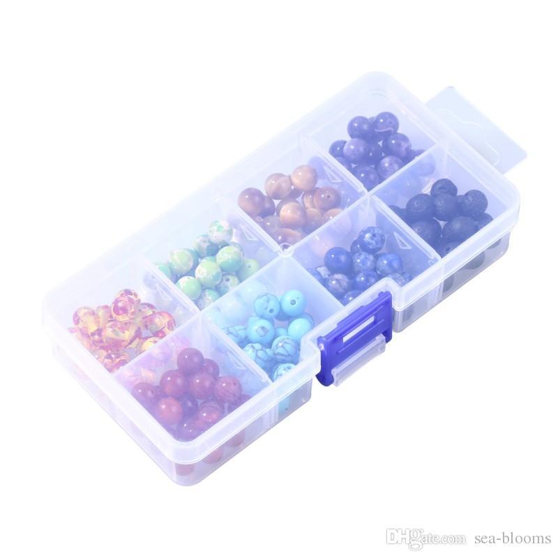 Kit de perle de lave 8MM chakra perles Lava Rock pierre volcanique perle boîte en plastique ensemble bricolage artisanat bijouterie Making Free DHL D828L