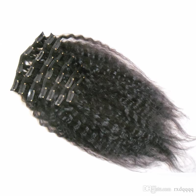 Malaysian Kinky Straight virgin thick clip in hair extension Natural Black 120g coarse yaki clip in human hair extensions