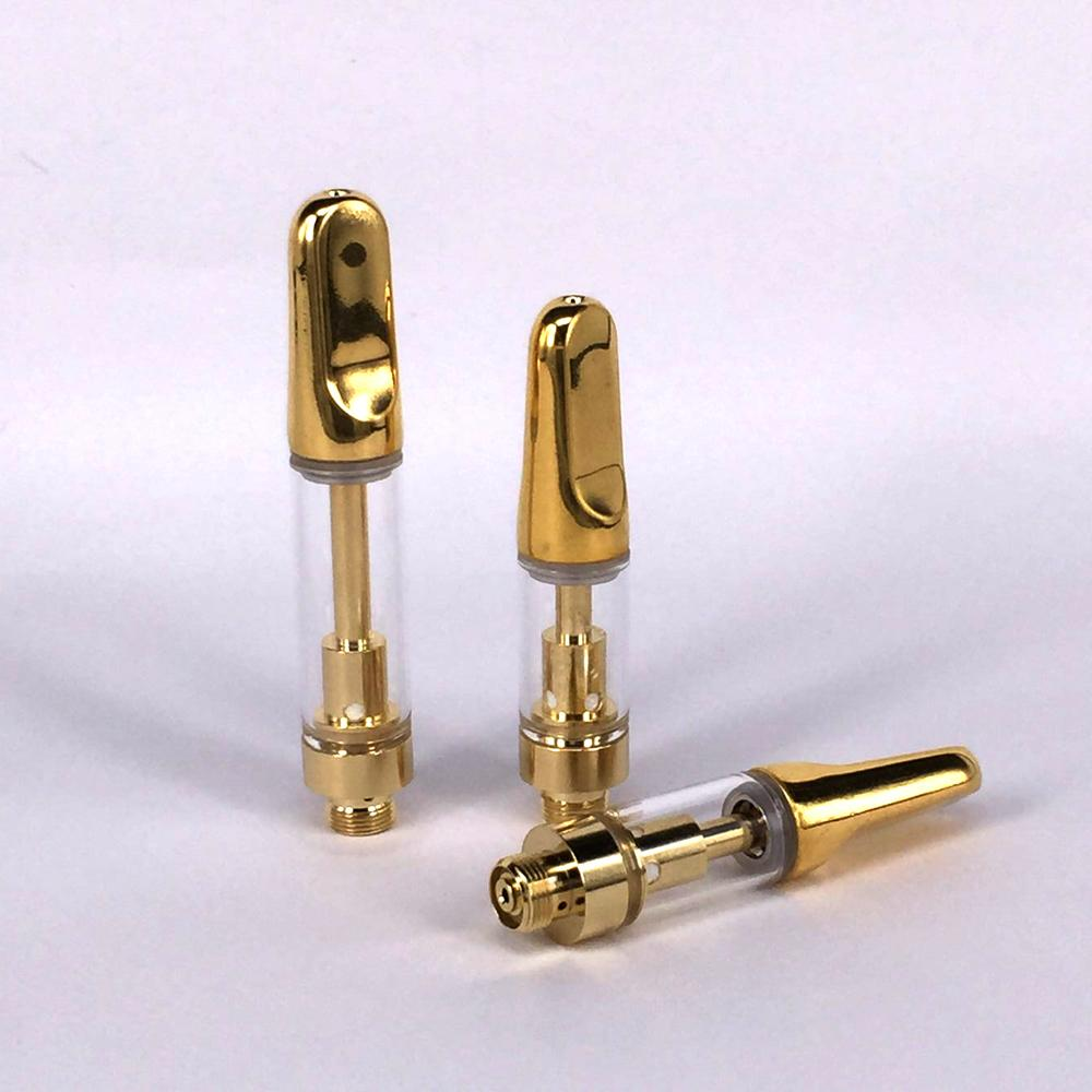 pyrex Glass bho Thick oil cartridge ceramic coil atomizer Gold color ecig  vape pen tank Th205 th210 PK M6T05 92A3 CE3 G2