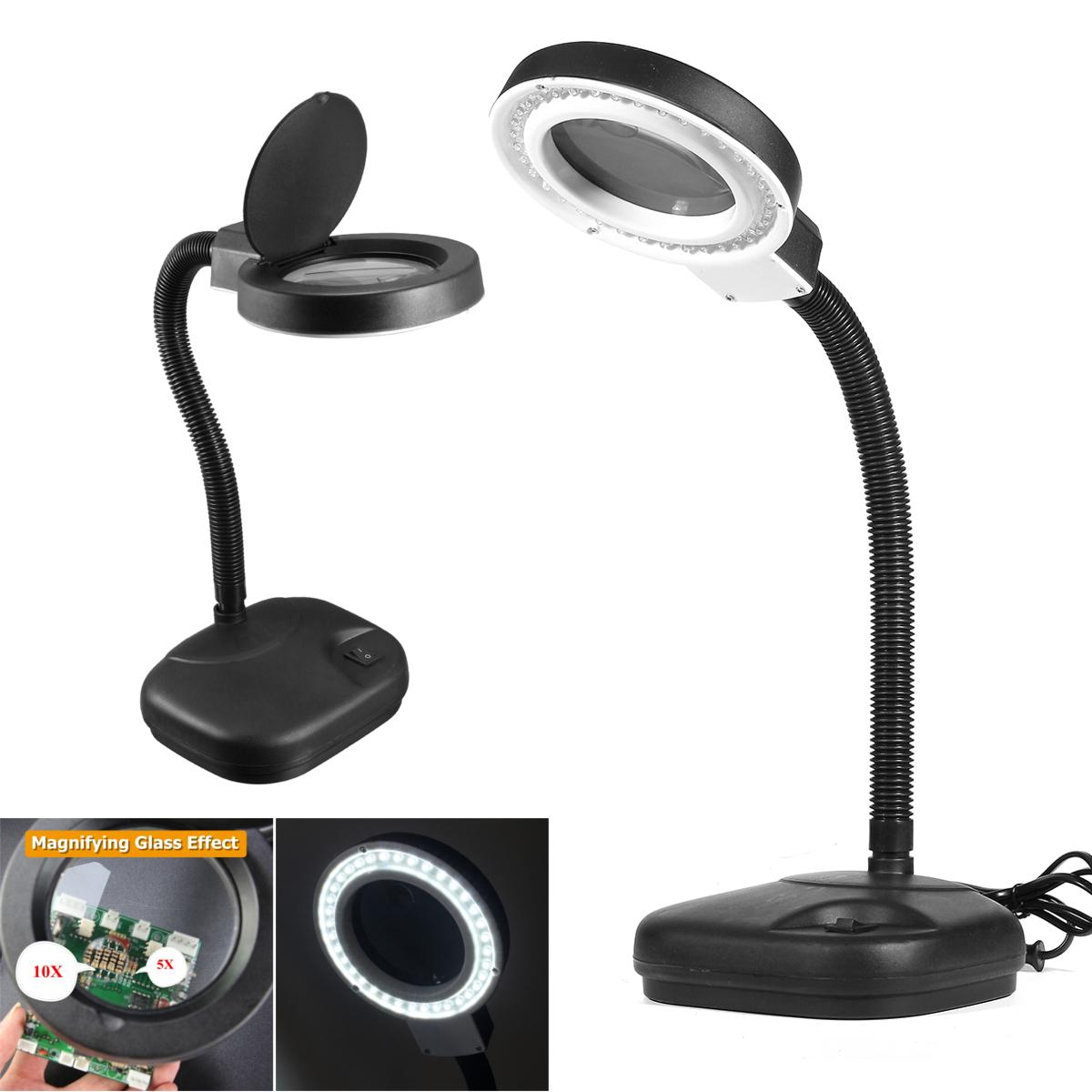 2018 Led Desk Magnifier Lamp Light Crafts Glass Lens 5x 10x Magnifying Desktop Loupe Repair Tools 40 Leds Stand Daylight Table From Jigsaw