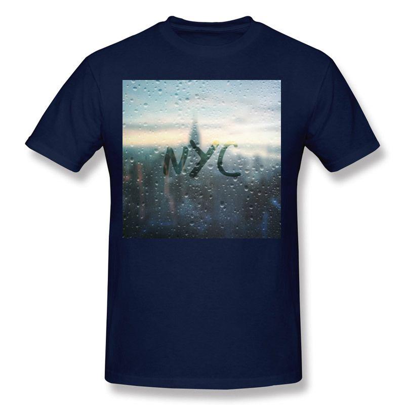 Envío de la gota Hombres Tela de algodón Día lluvioso en NYC Camisetas Hombres Cuello redondo Púrpura Camisas de manga corta S-6XL Ocio Camisetas